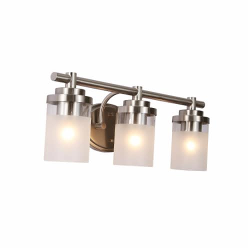 3-light Vanity light Brushed Nickel Finish Frosted glass shade Perspective: front