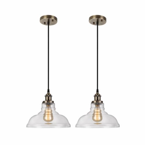 1-Light Clear Glass Pendant Light 2pack Perspective: front