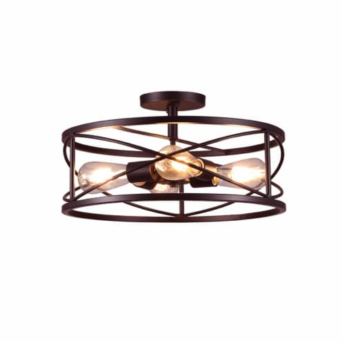 4-Light 17in Caged Drum Semi Flush Mount Light Perspective: front