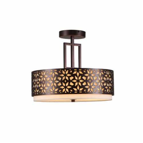 3-Light 14.5in. Oil Rubbed Bronze Drum Semi Flushmount Lights Perspective: front
