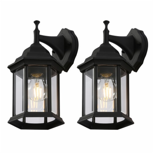 12-in Black Outdoor Wall Lantern Perspective: front