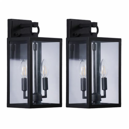 14 in. 2-light Black Outdoor Wall Lantern Perspective: front