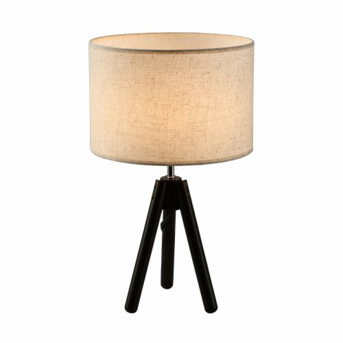 """19""""Dark Bronze  Tripod Table Lamp with round fabric shade Perspective: front"""