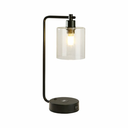 """19"""" Glass Shade Wireless Table Lamp with 2 USB Perspective: front"""