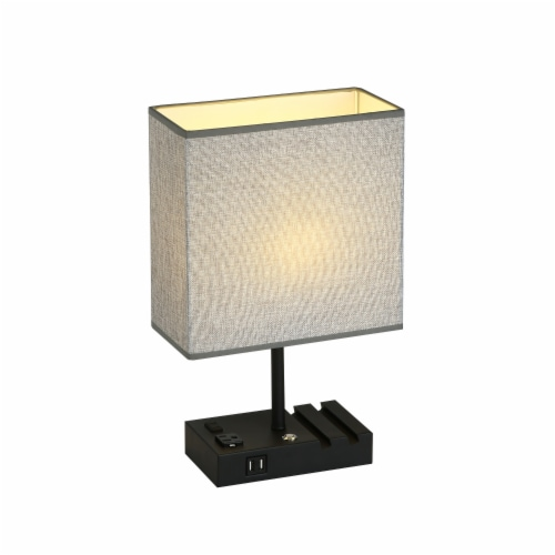 17 in. 2 USB Port Table Lamp with 2 Charging outlets and Charging Dock Perspective: front