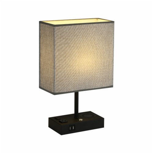 17 in. Wireless Charging Table Lamp with 2 USB Ports and 2 Charging outlets Perspective: front