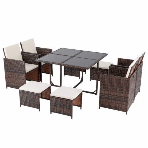 9 Pieces Rattan Patio Furniture Set Outdoor Dining Set with Waterproof Fabric Cushions Perspective: front