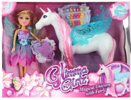 Glimma Girlz Magical Unicorn and Fairy Doll Set Perspective: front