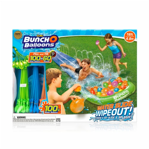 Zuru Bunch O Balloons Water Slide Wipeout with 100 Water Balloons Perspective: front