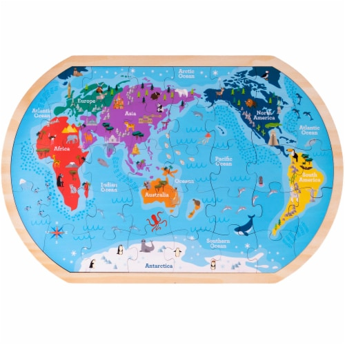 Professor Poplar's Whole Wide World Puzzle Map Perspective: front