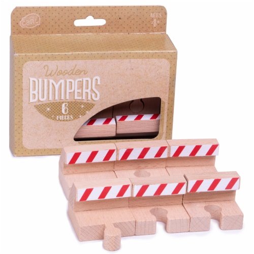 Wooden Train Track Bumpers, 6-pack Perspective: front