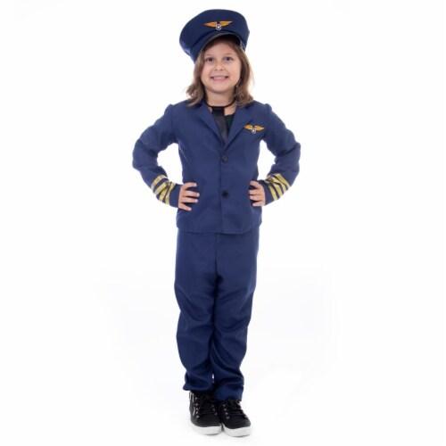 Airline Pilot Halloween Costume - Kids Unisex, Medium Perspective: front