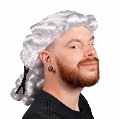 Colonial Powdered Wig, Adult Size Perspective: front