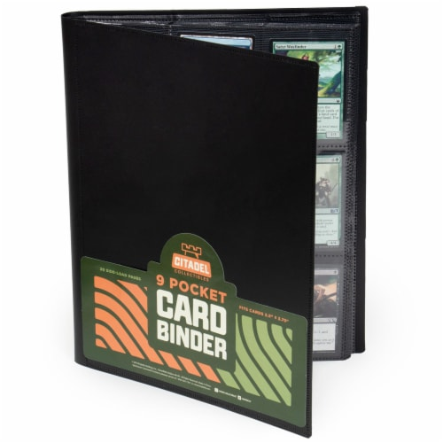 9-pocket Card Binder, Black Perspective: front