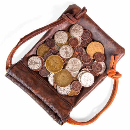 The Dragon's Hoard | 60 Metal Coins in Leather Pouch Perspective: front