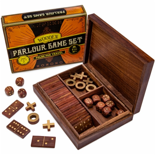 3-in-1 Wooden Parlour Game Set Perspective: front