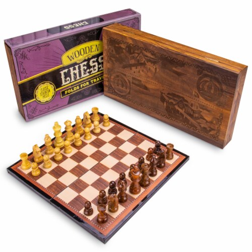 Vintage Wooden Chess Box Set Perspective: front