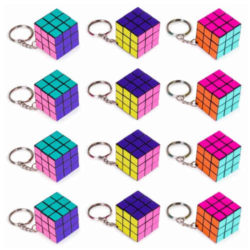 12 Pack - 80s Retro Puzzle Cube Keychains Perspective: front