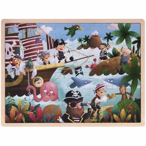 Ollie and Mr. Noodle: Playful Pirate Ship Jigsaw Puzzle Perspective: front