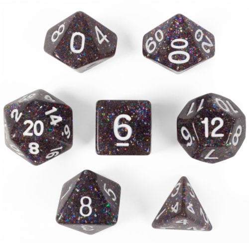 Sparklier Vomit, Set of 7 Polyhedral Dice Perspective: front