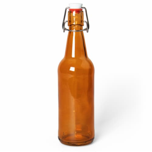 16.9 Oz Amber Glass Bottles Perspective: front