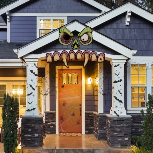 Mad Monster Face Outdoor House Decor Perspective: front