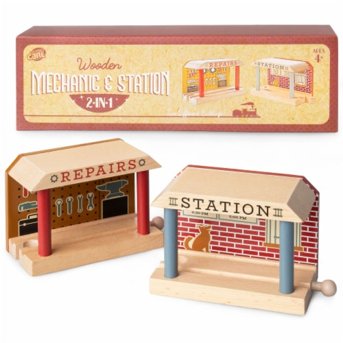 Wooden Train Mechanic and Station Perspective: front