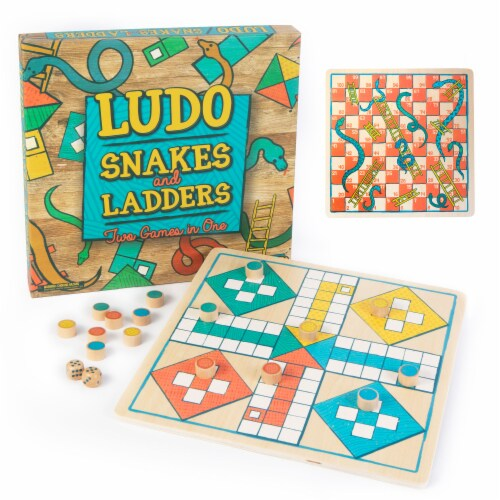 Ludo & Snakes & Ladders 2-in-1 Wooden Board Game Perspective: front