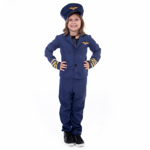 Airline Pilot Halloween Costume - Kids Unisex, Large Perspective: front
