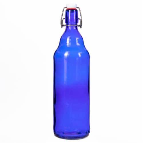 33 Oz Blue Grolsch Bottle Perspective: front