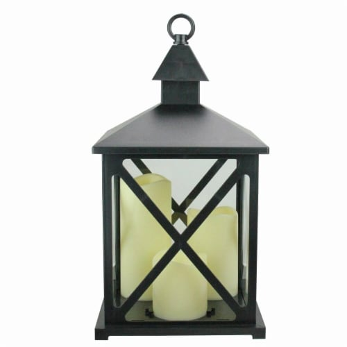 Northlight 32757668 12.5 in. Black Candle Lantern with 3 Flameless LED Candle Perspective: front