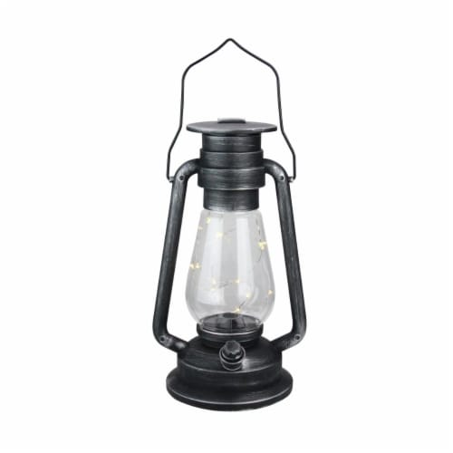Northlight 32756635 12 in. Silver Brushed & Black Traditional Lantern with Micro Lights Perspective: front