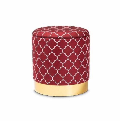 Baxton Studio Serra Red Quatrefoil Velvet Metal Storage Ottoman Perspective: front