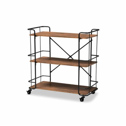 Neal Rustic Industrial Style Black Metal and Walnut Wood Bar and Kitchen Serving Cart Perspective: front