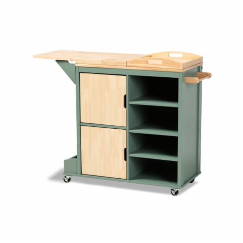 Dorthy Coastal and Farmhouse Two-tone Dark Green and Natural Wood Kitchen Storage Cart Perspective: front