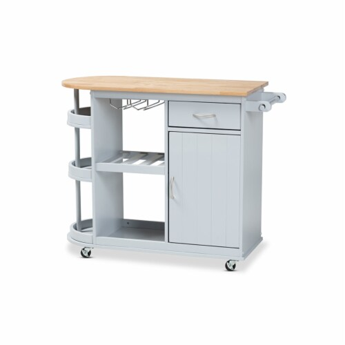 Donnie Coastal and Farmhouse Two-Tone Light Grey and Natural ed Wood Kitchen Storage Cart Perspective: front