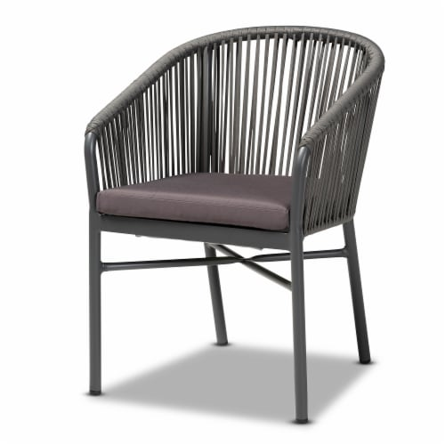 Baxton Studio Marcus Modern & Contemporary Grey Finished Rope & Metal Outdoor Dining Chair Perspective: front