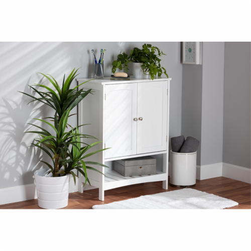 Baxton Studio Jaela Modern and Contemporary White Finished Wood 2-Door Bathroom Storage Perspective: front