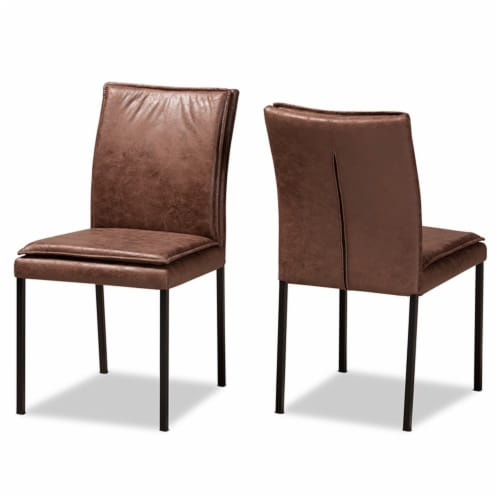 Baxton Studio Gerard Brown and Black Finished Metal 2-Piece Dining Chair Set Perspective: front