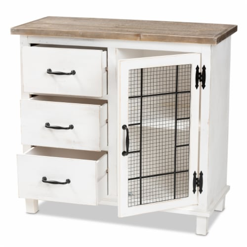 Baxton Studio Faron Classic and Traditional Farmhouse Two-Tone Distressed White and Oak Brown Perspective: front