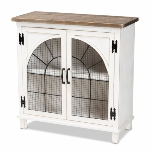 Baxton Studio Faron White and Oak Brown Finished Wood 2-Door Storage Cabinet Perspective: front