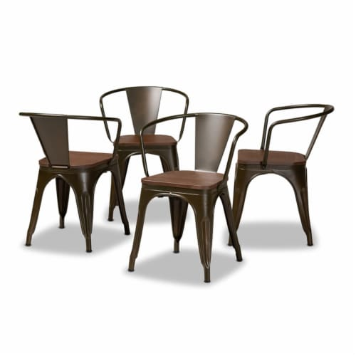 Ryland Brown Metal and Walnut Brown Finished Wood 4-Piece Dining Chair Set Perspective: front