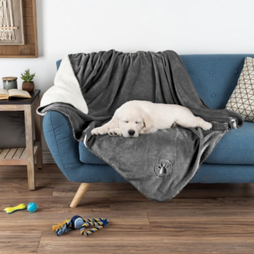 Gray Waterproof Pet Blanket � 60 x 50  Soft Plush Throw Protects Couch, Chair, Car, Bed from Perspective: front