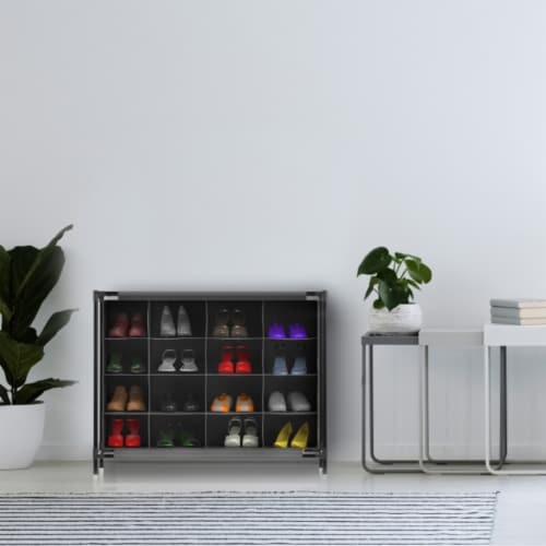 Shoe Organizer-16 Cubby Storage Rack for Tennis Shoes, Sneakers, Heels, Accessories-Space Perspective: front