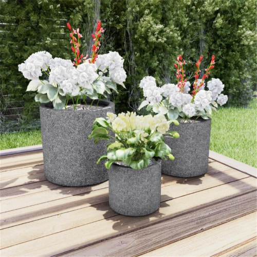 Pure Garden 50-LG1187 Fiber Clay Modern Decor Marbled Planters, Gray - Set of 3 Perspective: front