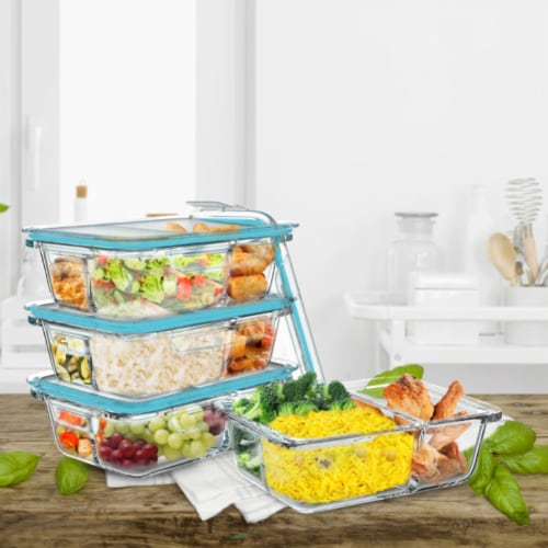 4 Glass Food Storage Containers Three Compartment Portion Control Meal Prep with Snap on Lids Perspective: front