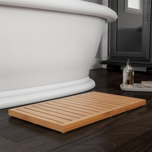 Bamboo Bath Mat Eco-Friendly Natural Wooden Non-Slip Slatted Design Mat for Indoor and Perspective: front