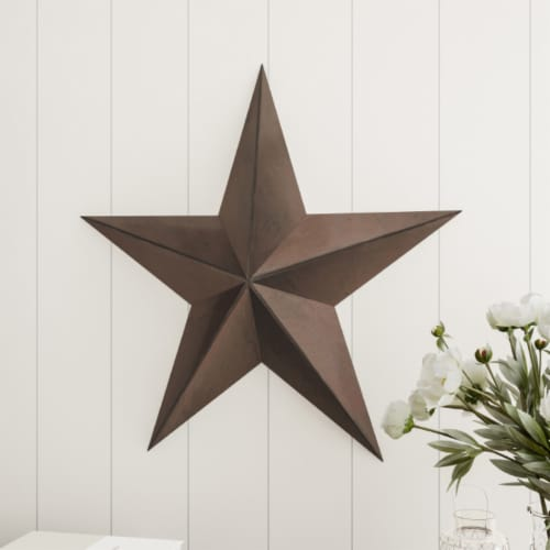 Barn Star-24-Inch Metal Indoor Rustic Farmhouse Americana Hanging Dimensional Wall Decor Perspective: front