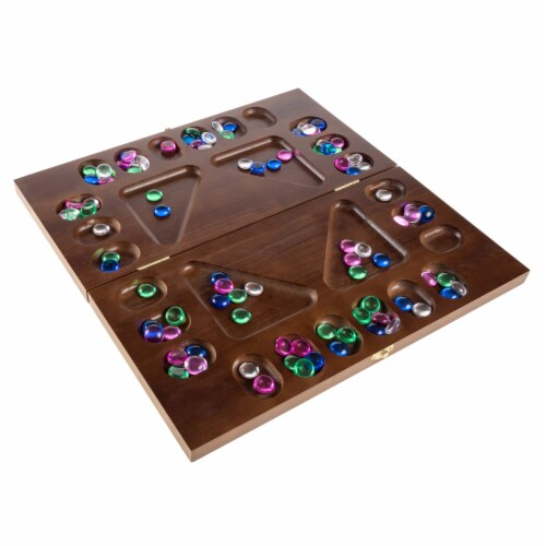 Mancala Board Game- 4 Player, Square Root Strategy Game, Folds for Storage or Travel and Perspective: front