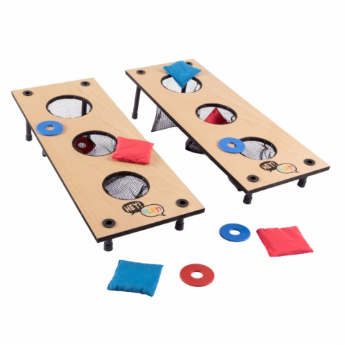 2-in-1 Washer Pitch and Beanbag Toss Wooden Cornhole Game Set Perspective: front